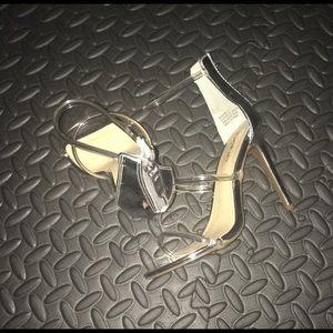 Bebe clear strap heels